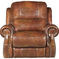 Chestnut Brown Leather-Match Manual Glider Recliner - Nailhead