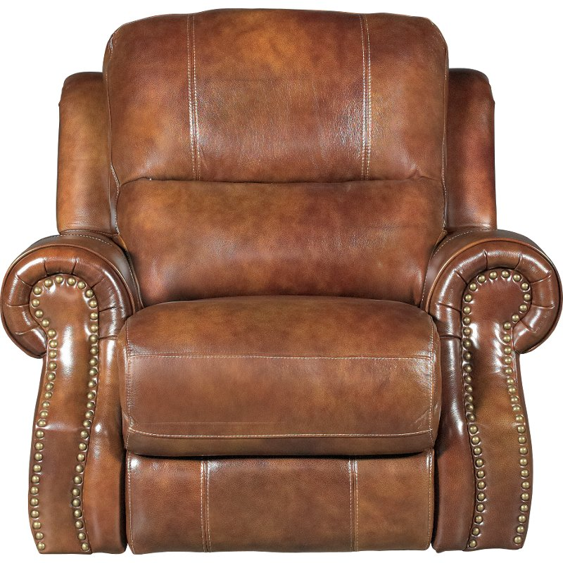 Chestnut Brown Leather Match Manual Glider Recliner Nailhead