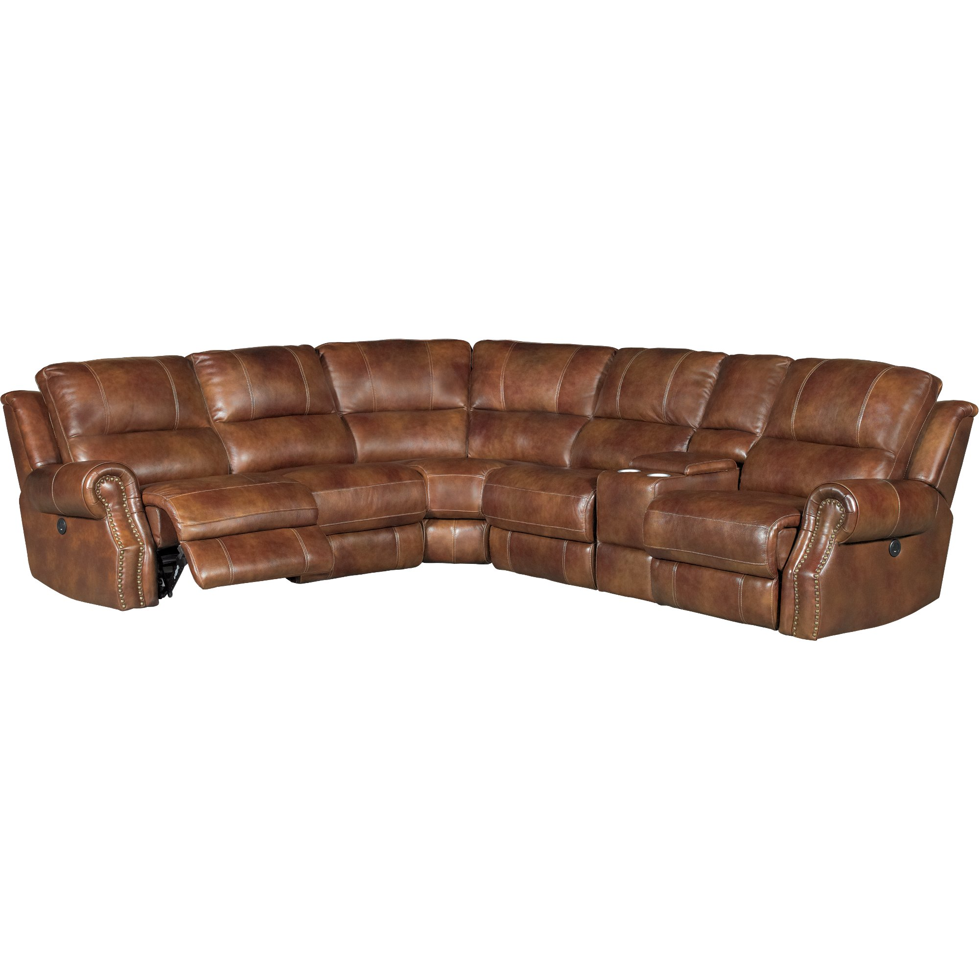 ... Chestnut Brown Leather-Match 6-Piece Power Reclining Sectional - Nailhead ...  sc 1 st  RC Willey : nailhead leather sectional - Sectionals, Sofas & Couches