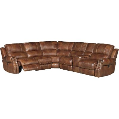 Chestnut Brown Leather-Match 6-Piece Power Reclining Sectional - Nailhead  sc 1 st  RC Willey : leather power reclining sectional - Sectionals, Sofas & Couches