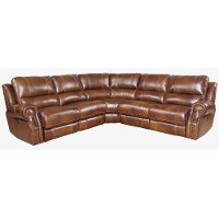 Chestnut Brown Leather-Match 5 Piece Power Reclining Sectional - Nailhead
