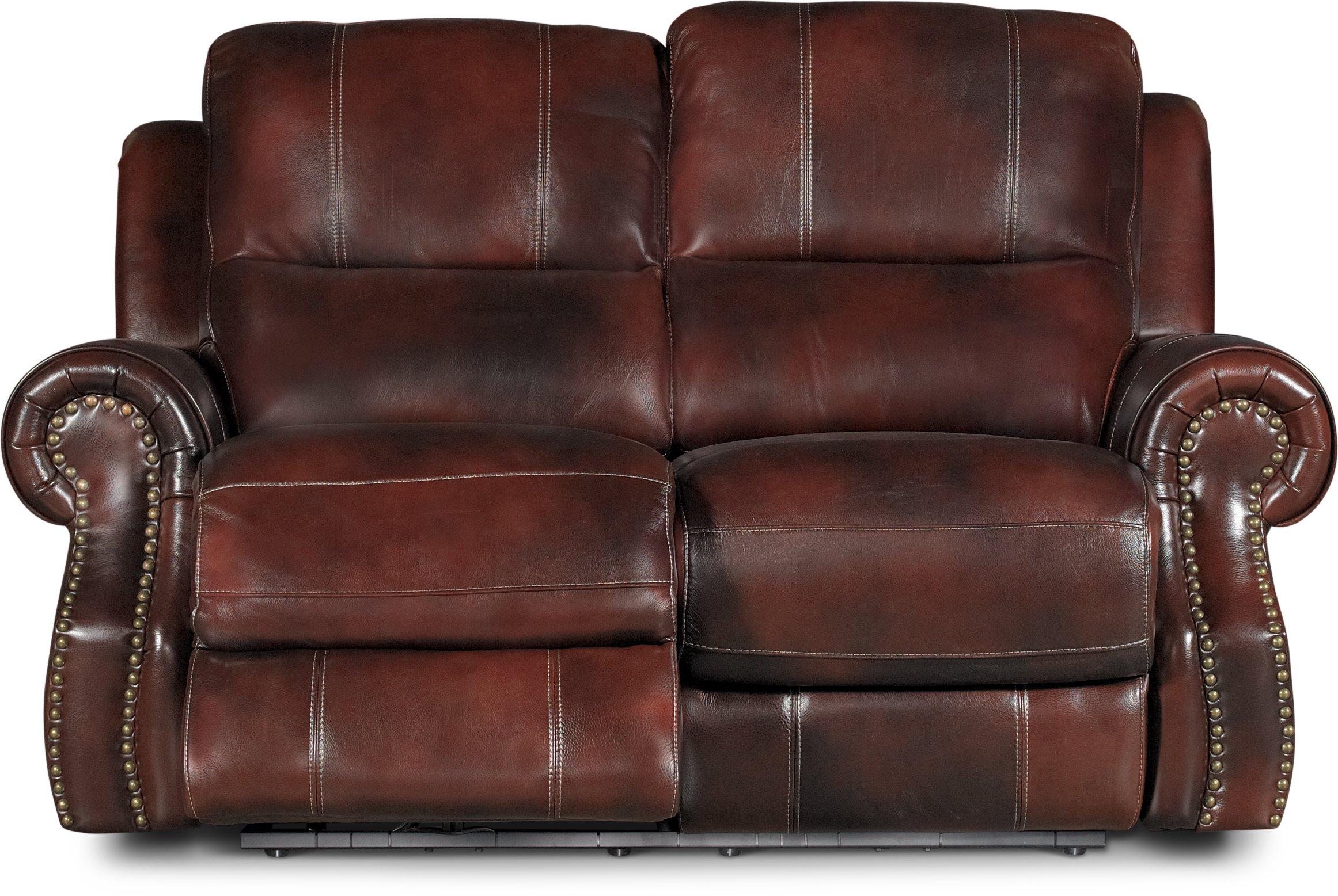 Auburn Leather Match Power Reclining Sofa Amp Loveseat