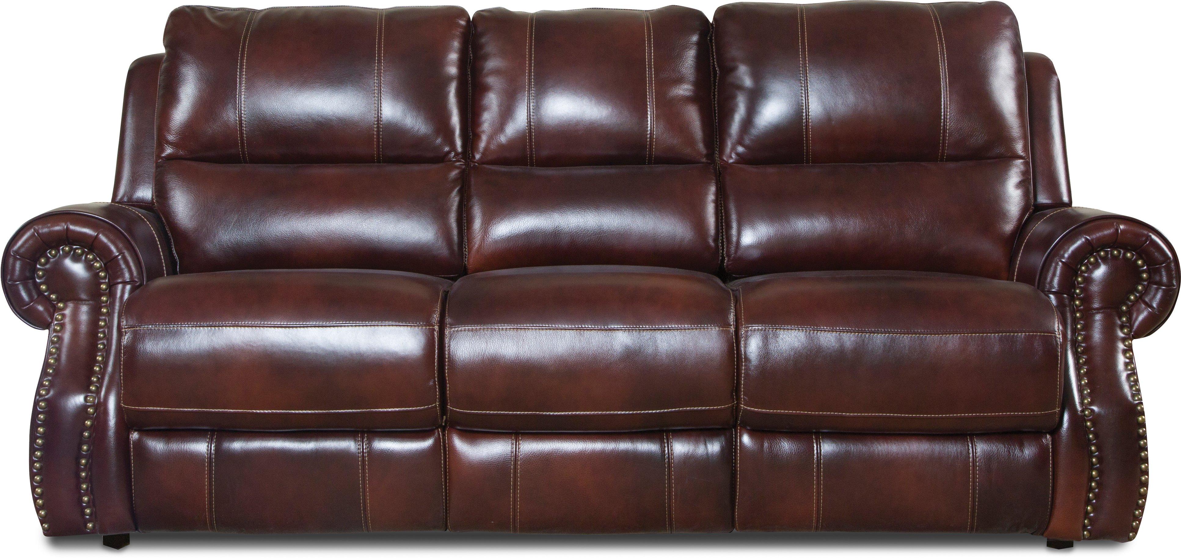 Auburn Leather Match Manual Reclining Sofa Nailhead
