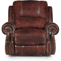 Auburn Leather-Match Manual Glider Recliner - Nailhead