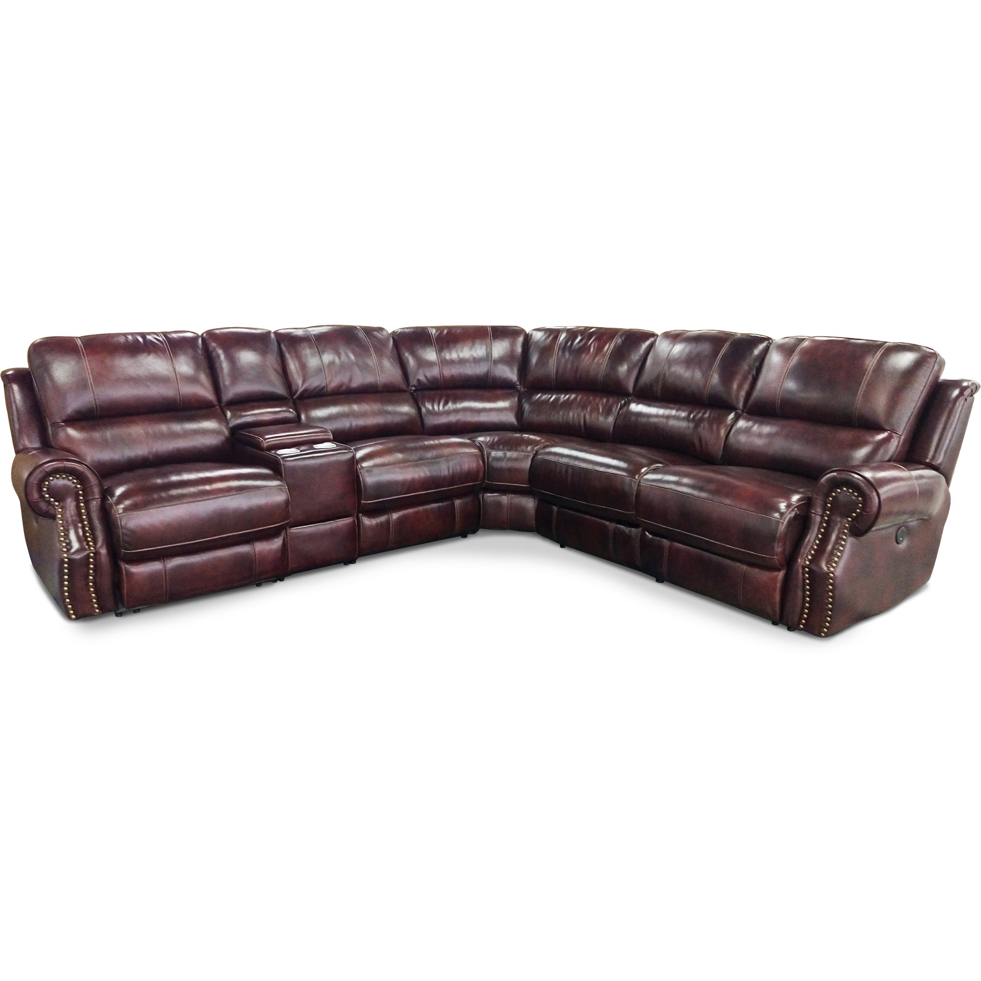 Auburn Leather Match 6 Piece Power Reclining Sectional   Nailhead | RC  Willey Furniture Store