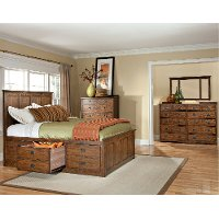 Mission Oak Storage Queen Bed - Oak Park