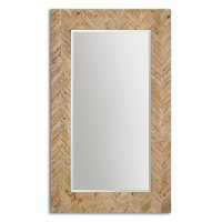 Chevron Patterned Wood Framed Mirror