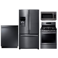 SUG-KIT Samsung Gas Kitchen Appliance Package with Gas Range - Black Stainless Steel