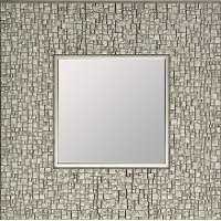 Square Textured Silver Framed Mirror