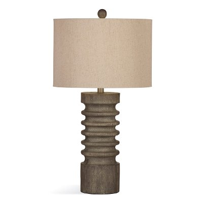 Gray Wash Turned Wood Table Lamp