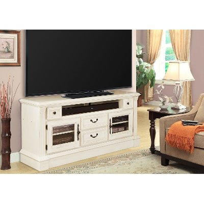 65 Inch Burnished White TV Stand   Fremont