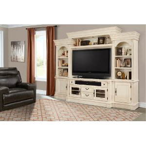Transitional Burnished White Entertainment Center