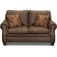 Classic Traditional Brown Loveseat - Shiloh
