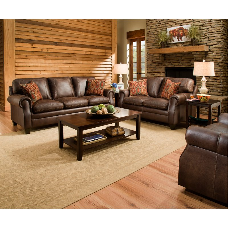 Ordinaire Classic Traditional Brown 2 Piece Living Room Set   Shiloh