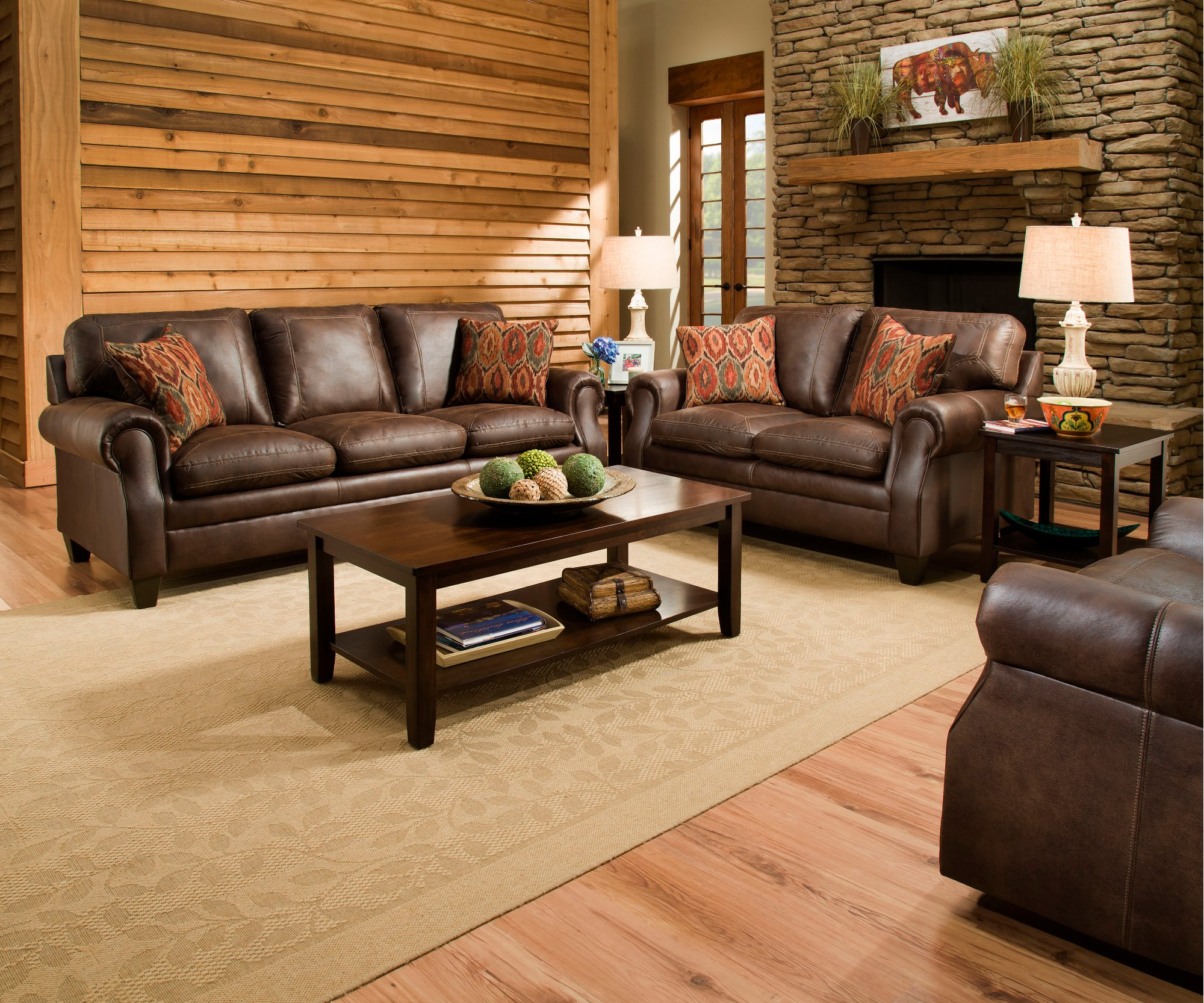 Classic Traditional Brown Sofa Loveseat Set