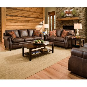 Classic Traditional Brown Sofa U0026 Loveseat Set   Shiloh ... Part 90