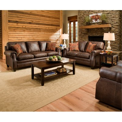 Classic Traditional Brown Sofa Loveseat Set Shiloh RC Willey