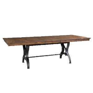 solid birch and metal dining table district