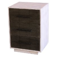 Wood Three Drawer Modern Side Table