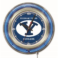 Brigham Young 15 Inch Double Ring - Neon Logo Clock