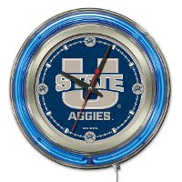 Utah State 15 Inch Double Ring - Neon Logo Clock