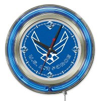 Clk15AirFor Air Force 15 Inch Double Ring - Neon Logo Clock