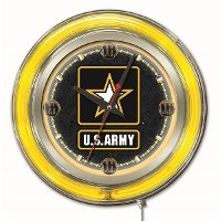 Clk15Army U.S. Army 15 Inch Double Ring  - Neon Logo Clock