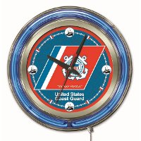 Clk15CstGrd U.S. Coast Guard 15 Inch Double Ring - Neon Logo Clock