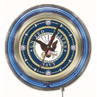 U.S. Navy 15 Inch Double Ring - Neon Logo Clock