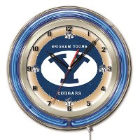 Brigham Young 19 Inch Double Ring - Neon Logo Clock