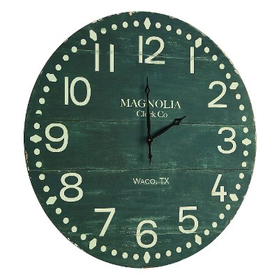 Magnolia Home Furniture Antique Black Plank Face Wooden Wall Clock