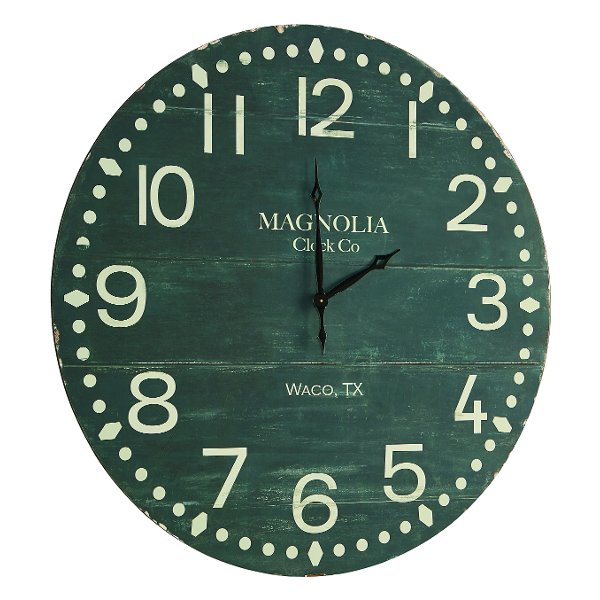 ... Magnolia Home Furniture Antique Black Plank Face Wooden Wall Clock