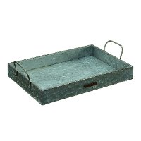 Magnolia Home Furniture Aged Zinc Metal Tray with Handles