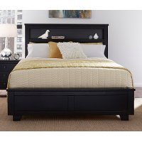 Black Contemporary Full Size Bed with Bookcase - Diego