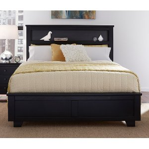 black queen storage bed with bookcase diego