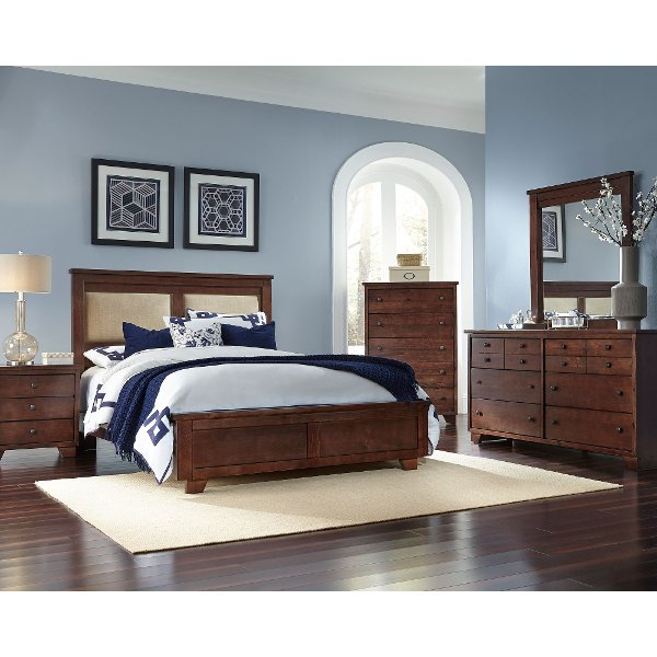 Brown Contemporary 4 Piece Upholstered King Bedroom Set   Diego