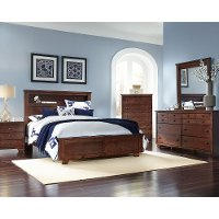 Brown Contemporary 6 Piece Bookcase Full Bedroom Set - Diego