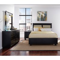 Black Contemporary 6 Piece Queen Upholstered Bedroom Set - Diego