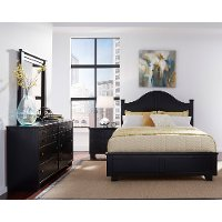 Black Contemporary 6 Piece Full Arch Bedroom Set - Diego