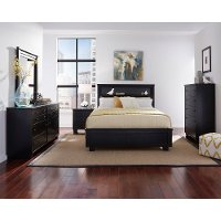 Black Contemporary 6 Piece Full Bedroom Set - Diego