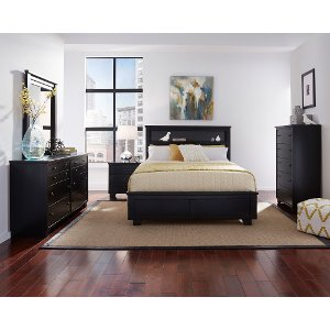Black Contemporary 6 Piece Full Bedroom Set Diego