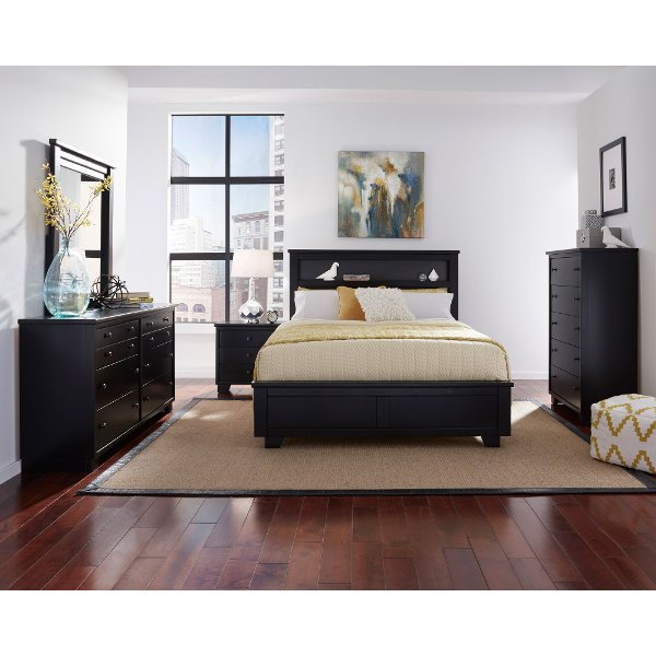Contemporary Black 4 Piece Full Bedroom Set Go