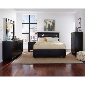black 6 piece queen bedroom set diego