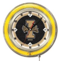 Clk19IdahoU Idaho 19 Inch Double Ring - Neon Logo Clock