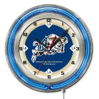 Naval Academy 19 Inch Double Ring - Neon Logo Clock
