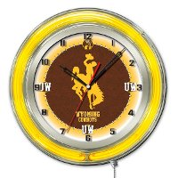Wyoming 19 Inch Double Ring - Neon Logo Clock
