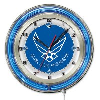 U.S. Air Force 19 Inch Double Ring - Neon Logo Clock