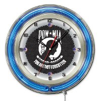 POW/MIA 19 Inch Double Ring - Neon Logo Clock
