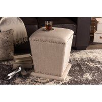 6714-RCW Beige Upholstered Ottoman With Nail Head Trim - Beverly
