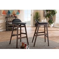 2PC-6797-RCW Faux Leather/ Walnut Wood Bar Stools (30 Inch) - Bloom